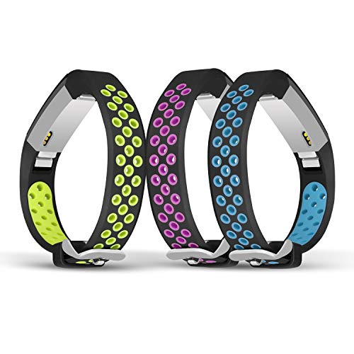 Jobese For Fitbit Alta/Alta Hr Bands, Two-Tone Soft Breathable Bands for Fitbit Alta and Alta Hr Silicone Replacement Wristbands Women Men, 3 Pack