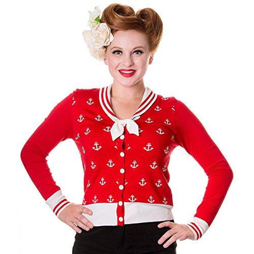 Banned–Retro Sailor Cardigan Anchors Away–Chaqueta de punto para mujer vintage marinero ancla Rojo