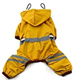 MaruPet Outdoor Polyester Puppy Waterproof Glisten Yellow Four-Leg Raincoat Doggie Hooded Rain Gear Jumpsuit for Small Extral Small Dog Teddy, Pug, Chihuahua, Shih Tzu, Yorkshire Terriers L