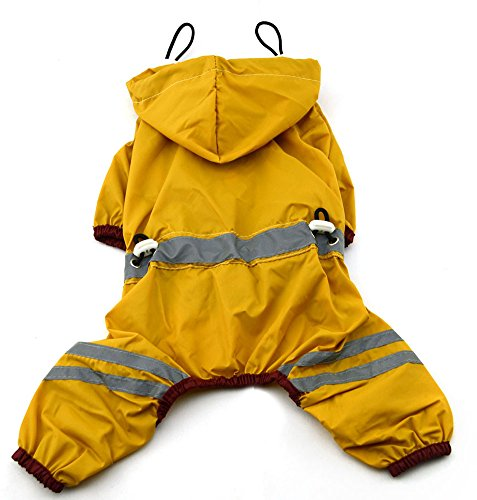 Hooded Dog Jumpsuit - MaruPet Outdoor Polyester Puppy Waterproof Glisten Yellow Four-Leg Raincoat Doggie Hooded Rain Gear Jumpsuit for Small Extral Small Dog Teddy, Pug, Chihuahua, Shih Tzu, Yorkshire Terriers M