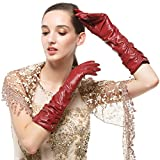 Nappaglo Women's Winter Long Leather Gloves Genuine Nappa Leather Touchscreen Ruched Elbow Party Mittens (M (Palm Girth:7.2''), Wine Red (Non-Touchscreen))