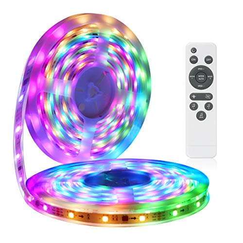LED Strip Lights More Than 80 Kinds of Modes Music Activated Rainbow Lights 32.8ft/10m IP65 Waterproof LED Light Strip 5050 RGB LED Strip with RF Controller by DotStone ()