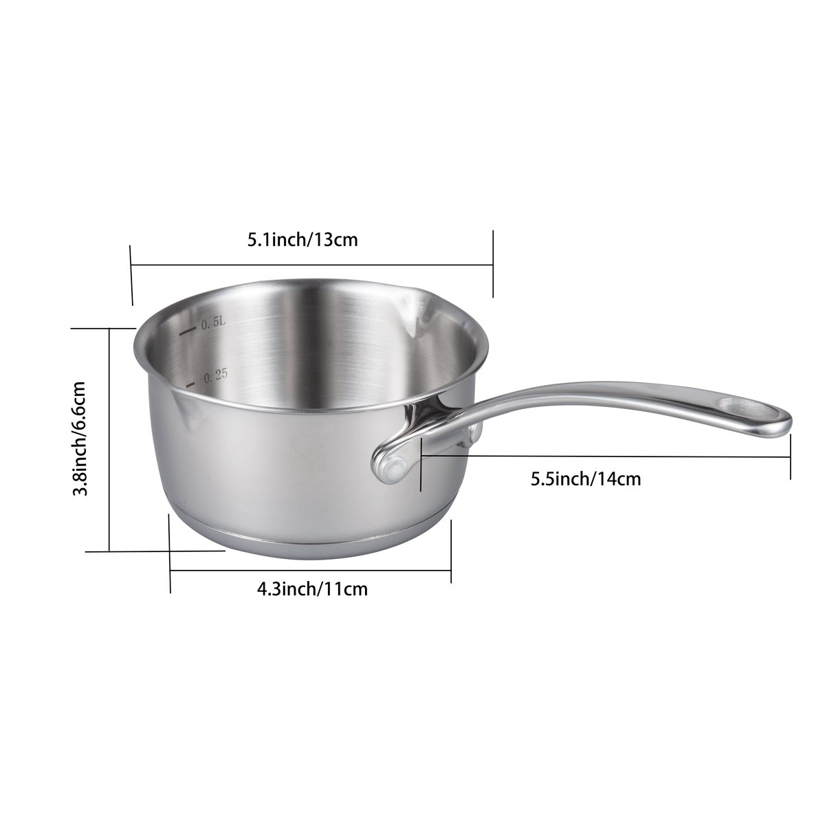 IMEEA (17oz/500ml Heavy Duty 18/10 Tri-Ply Stainless Steel Butter Warmer Pan with Dual Pour Spouts, 0.5-Quart by IMEEA (Image #7)