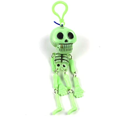 Hemore 1PCS Funny Trick Skull Skeleton Halloween Model Game Keychain Key Party Decor Toy (Green)