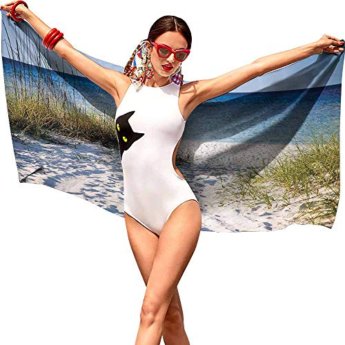 VonGode Bath Towel 3D Digital Printing Set Seaside Decor Collection Path to The Beach Clear Sky Bushes Grasses Windy Sunny Day Peaceful Gulf of Mexico Picture W28 xL55 Navy ()