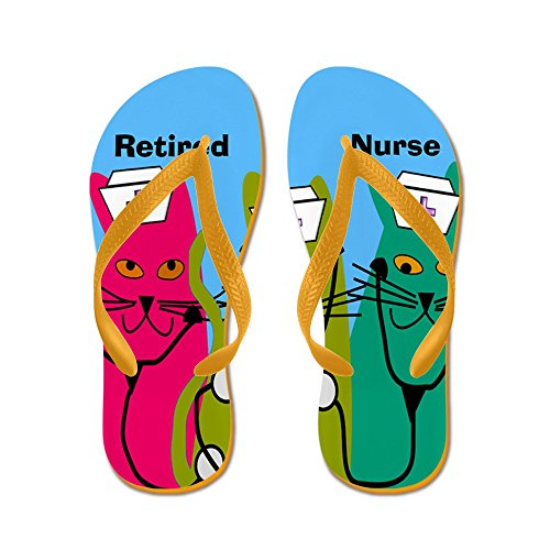 CafePress Retired Nurse FF 7 - Flip Flops, Funny Thong Sandals, Beach Sandals Orange