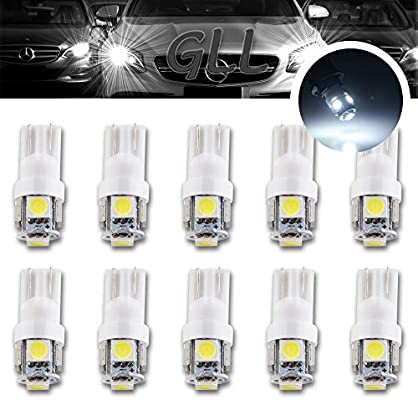 Number Plate LEDS 10 x T10 501 W5W LED Sidelight Bulbs WHITE Interior