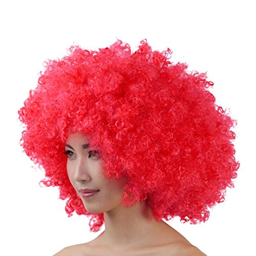 La moriposa Unisex 60s 70s Hippie Style Afro Wig for Halloween Costume Party Disco(Red)
