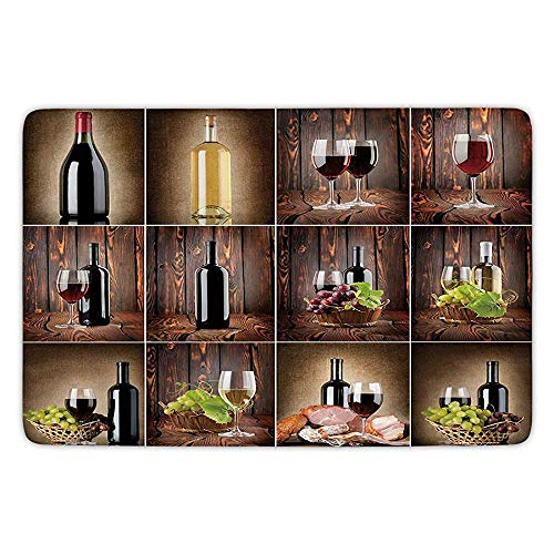 K0k2t0 Bathroom Bath Rug Kitchen Floor Mat Carpet,Wine,Wine Themed Collage on Wooden Backdrop Grapes Meat Rustic Country Drink Decorative,Brown Black Red,Flannel Microfiber Non-Slip Soft Absorbent