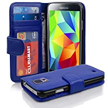 Cadorabo - Book Style Wallet Design for Samsung Galaxy S5 / S5 NEO (I5500) with 2 Card Slots and Money Pouch - Etui Case Cover Protection in NAVY-BLUE