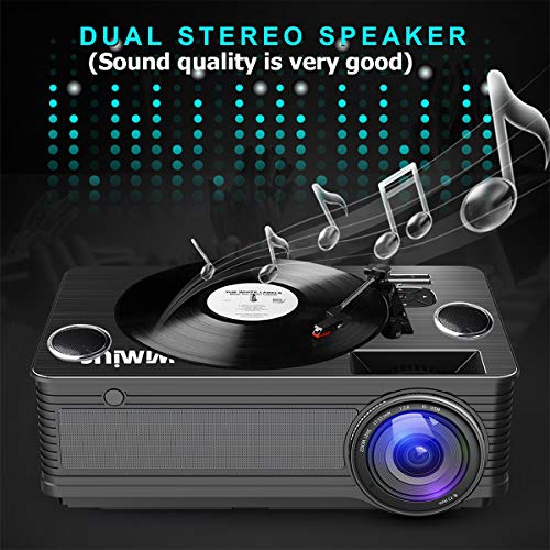 Projector, WiMiUS P18 4000 Lumens LED Projector Support 1080P 200'' Display 50,000H LED Compatible with Amazon Fire TV Stick Laptop iPhone Android Phone Xbox Via HDMI USB VGA AV Black by WiMiUS (Image #4)