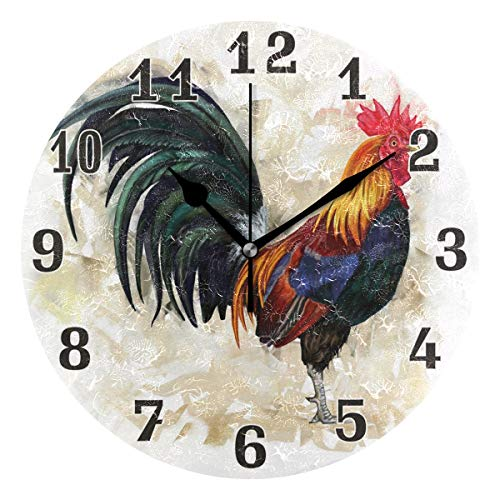 WXLIFE Animal Rooster Cock Chicken Round Acrylic Wall Clock, Silent Non Ticking Art Painting for Kids Bedroom Living Room Office School Home Decor