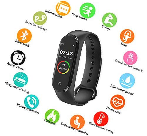 SBA999 ABM404 M4 Bluetooth Wireless Smart Fitness Band for Boys/Men/Kids/Women | Sports Watch Compatible with Xiaomi, Oppo, Vivo Mobile Phone | Heart Rate and BP Monitor, Calories Counter