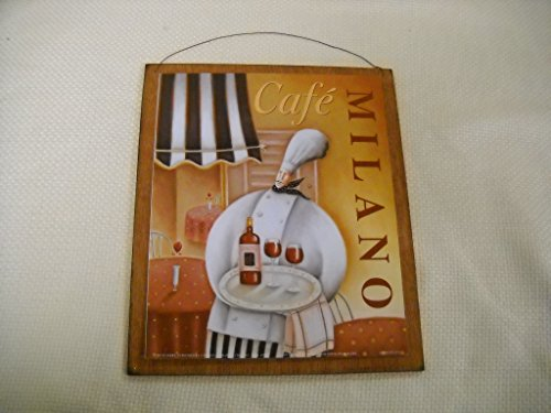 Milano Bistro (Cafe Milano Waiter Serving Wine Kitchen Wooden Wall Art Sign Chefs)