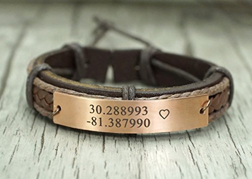 Custom Engraved Coordinates Bracelet, Longitude Latitude, Copper Leather Cuff, Heart Stamped, In Memory of a Location