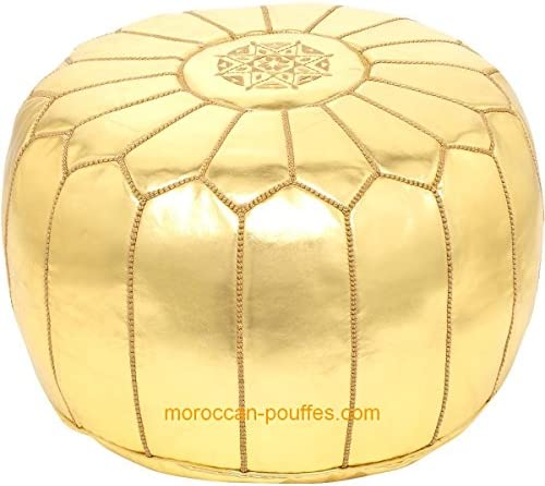 moroccan poufs Faux Leather Luxury Ottomans footstools Gold unstuffed
