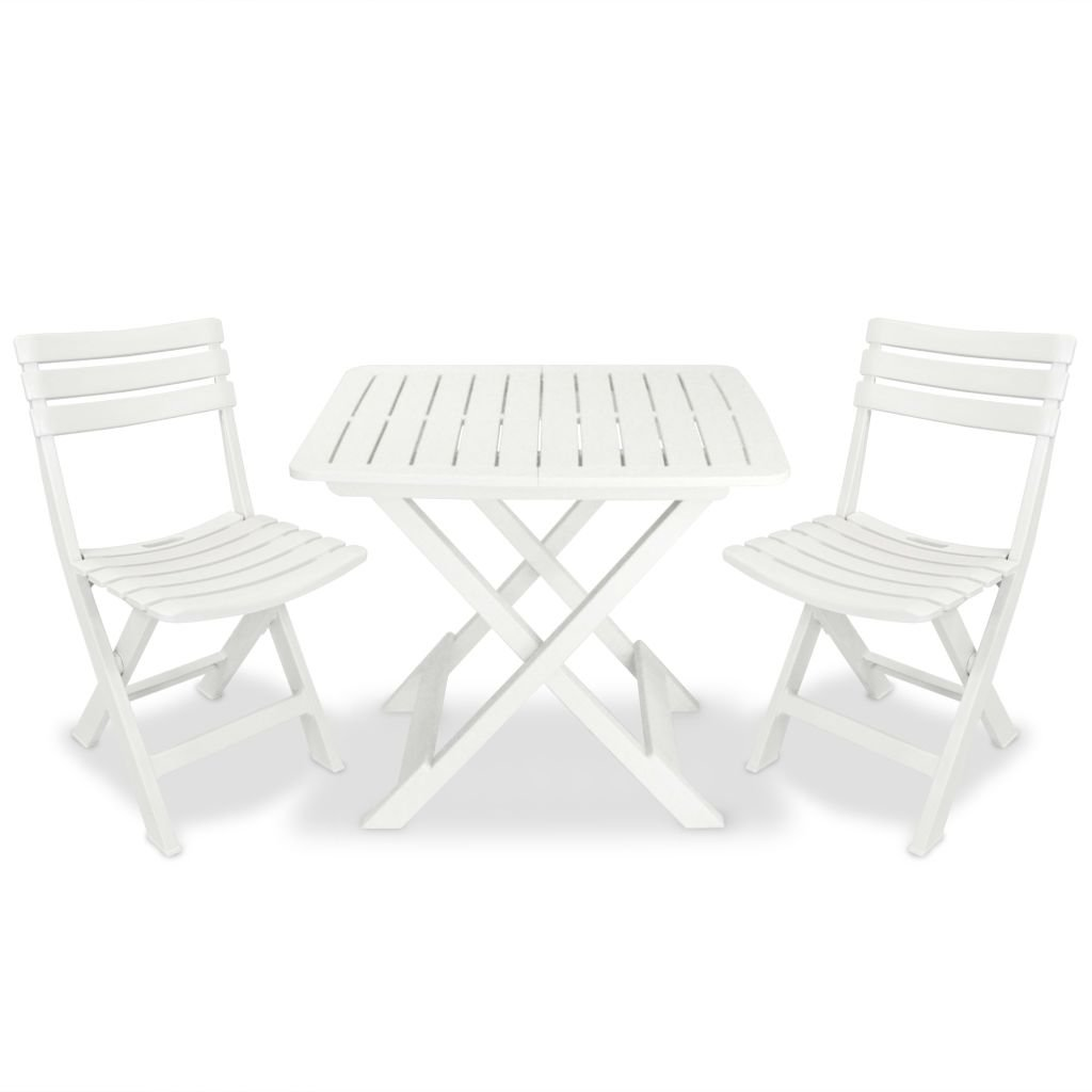 Progarden 4666 Camping-Set weiß Besteehend aus: 2x Stuhl Birki +1 x Tisch Tevere, komplett zusammenklappbar