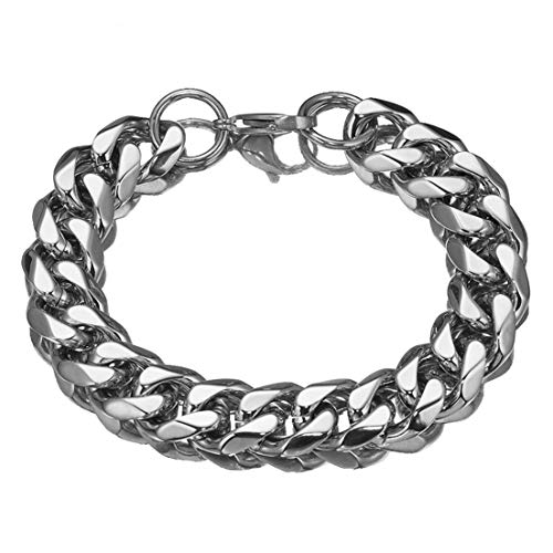 Men's 15mm Stainless Steel Silver Curb Link Chain Bracelet, 8