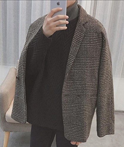 amp;W Coffee Houndstooth Winter Trench Overcoat Breasted Men's Warm Double amp;S M Pea 5a0Z77
