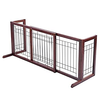 Amazon.com: Wood Dog Gate Pet Fence Playpen Adjustable Indoor Free Stand  Safety Solid Barrier Wooden Construction Wide Freestanding Extra Walk  Folding ...
