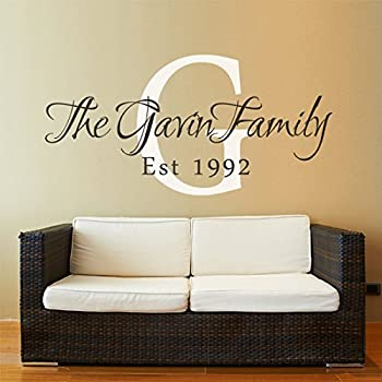 Family Name Decal Personalized Family Name Decal Monogram Established Date Vinyl Wall Decal Family Custom Decor