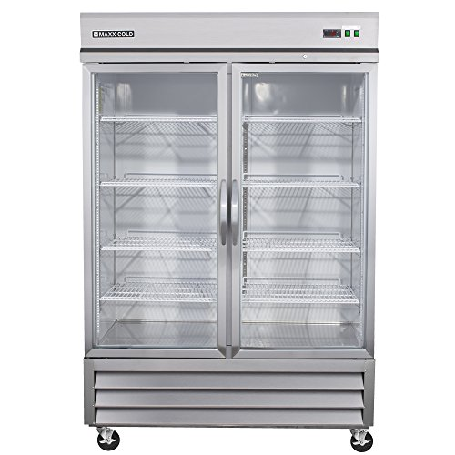 Maxx Cold MXCR-49GD Two Door GLASS Reach-In Upright Refrigerator - All Stainless Steel