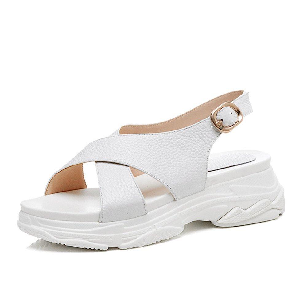sale retailer bc7c5 a0ae0 Shymamamiya Sommer Leder Runde Schuhe Frauen Steigung mit Dicken Casual  Frauen Sport Sandalen (Farbe