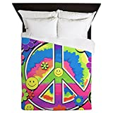 Queen Duvet Cover Neon Smiley Face Floral Peace Symbol
