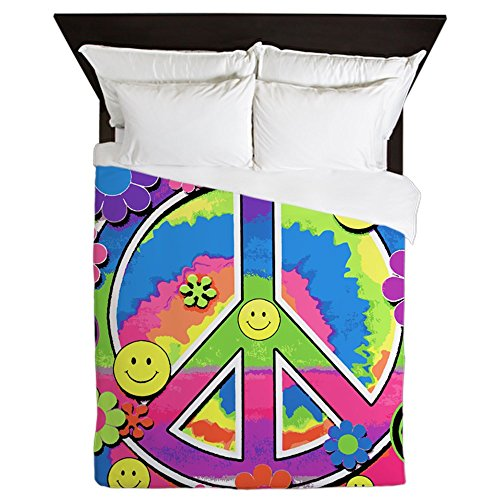 Queen Duvet Cover Neon Smiley Face Floral Peace Symbol by Royal Lion