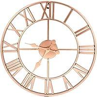 Wall Clocks,Clock 40Cm Metal Rose Gold & Copper Roman Openwork Silent Home Decor Living Room Simple Design