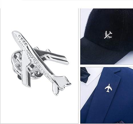 CWYPB Broche de Traje de los Hombres, Plata Sombrero Pin par avión ...