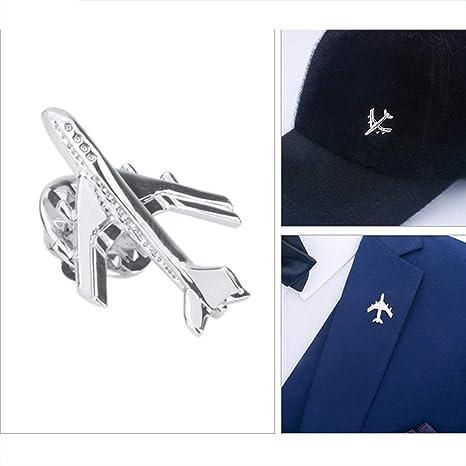 CWYPB Giacca Uomo Spilla, Silver Hat Pin Coppia Aeroplano