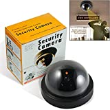 Dummy Fake Security CCTV Dome Camera with Flashing Red LED Light with Warning Security Alert Sticker Decals