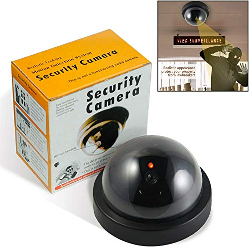- Dummy Fake Security CCTV Dome Camera with Flashing Red LED Light with Warning Security Alert Sticker Decals