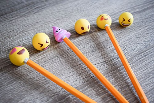 Pencil Top Erasers - Emoji Erasers for Kids - Fun Pencil Top Eraser - Everything Emoji Cute Pencil Eraser Tops (Set 4 (18 pack)) by I EM JI (Image #2)