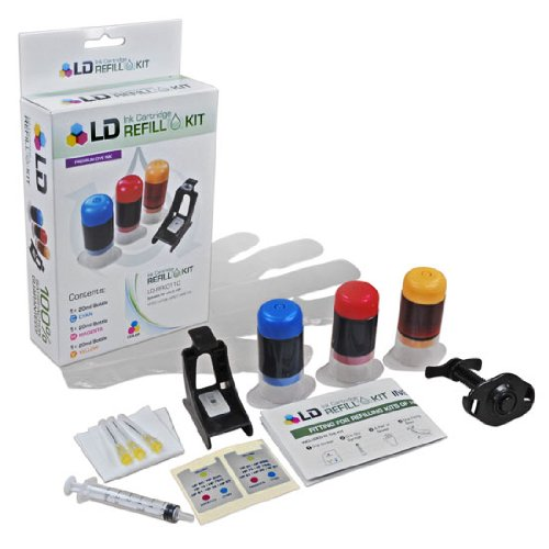LD © Inkjet Refill Kit for Hewlett Packard CH564WN (HP 61XL) Color Ink Cartridges