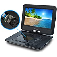 Portable DVD Player for Car, SYNAGY 10.1 Personal DVD Player with Swivel Screen, Rechargeable Battery, SD Card Slot and USB Port (Black)