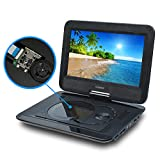 SYNAGY 10.1'' Portable DVD Player CD Player with Car Headrest Holder, Swivel Screen Remote Control Rechargeable Battery Car Charger Wall Charger, Personal DVD Player
