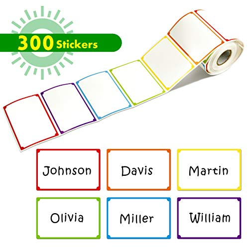 300pcs 6 Colors Plain Name tag Labels with Perforated Line for School Office Home (3.5
