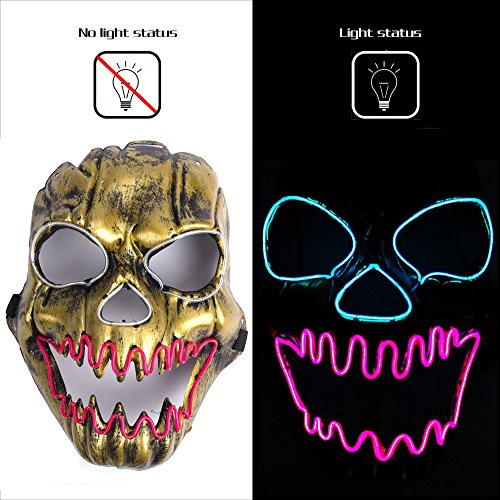 Ansee Luminous Scary Clown Mask Halloween Led Mask Flames Skull Mask Light Up Mask ()