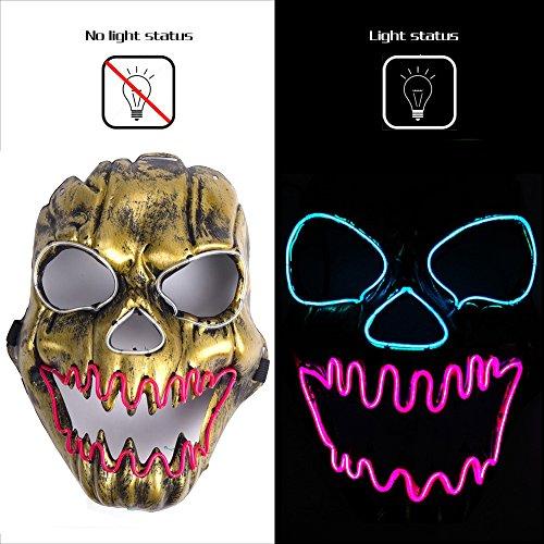 Ansee Luminous Scary Clown Mask Halloween Led Mask Flames Skull Mask Light Up -