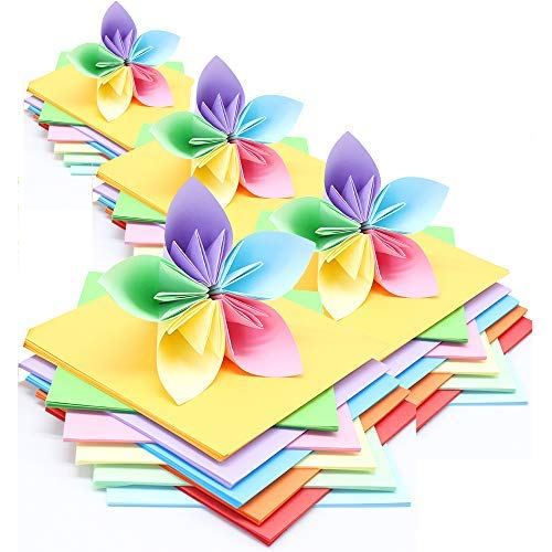 Origami Paper LIWUTE Coloured Origami Paper Double Sided Square Coloured Craft Papers DIY Art Paper safety scissors and Solid glue 1600 Sheets by LIWUTE