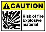 Risk Of Fire Explosive Material Caution OSHA / ANSI LABEL DECAL STICKER Sticks to Any Surface 10x7