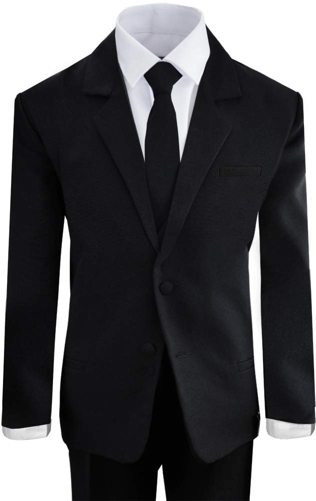 Boys Black Tuxedo Suit with Tie Young Boys Youth Size 16 by Black n Bianco (Image #2)