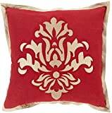 22'' Metallic Red and Gold Floral Pattern Woven Square Throw Pillow - Down Filler