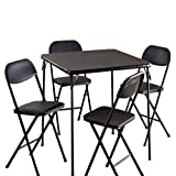 Card Table Chairs Set of Five Black Cards Setting Small Playing Vinyl Metal Frame Indoor Living Room Board Games Furniture Set & E Book by Easy2Find