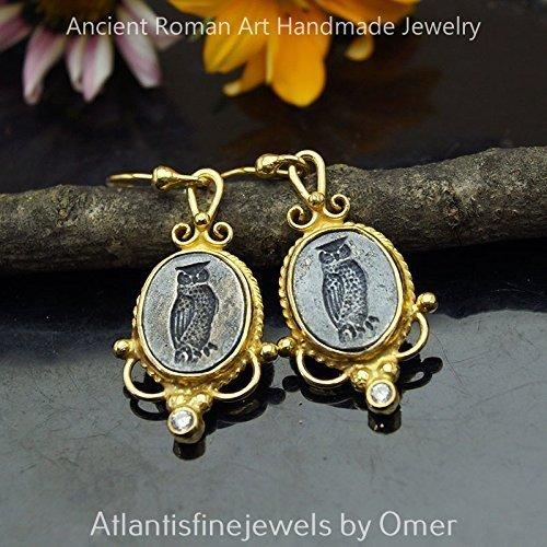 (Roman Art Owl Coin 2 Tone Earrings 925 k Sterling Silver 24k Gold Vermeil Roman Art Turkish Fine Jewelry)