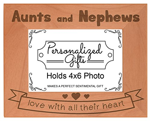 Aunt Gifts Aunts Nephews Love All Their Heart Natural Wood Engraved 4x6 Landscape Picture Frame Wood (6 Wreath Frame)