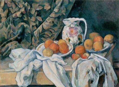 Oil Painting 'Still Life With A Curtain,1895 By Paul CezanneStill Life With A Curtain,1895 By Paul Cezanne' Printing On High Quality Polyster Canvas , 10x14 Inch / 25x35 Cm ,the Best Living Room Decoration And Home Decor And Gifts Is This High Definition Art Decorative Canvas Prints (Best Way To Paint Wicker Furniture)