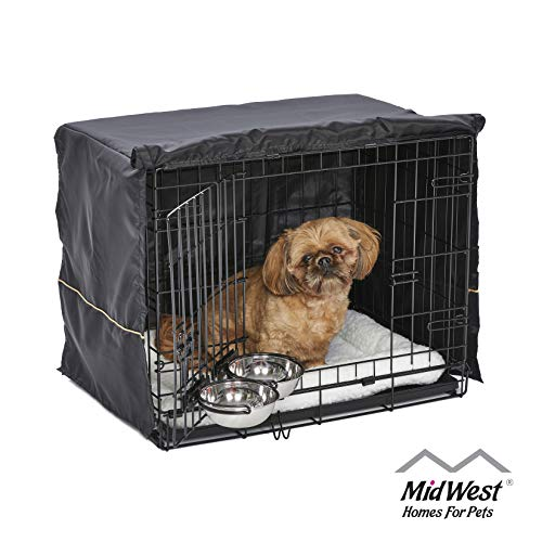 iCrate Dog Crate Starter Kit, 24-Inch Dog Crate Kit Ideal for SMALL DOG BREEDS Weighing 13 - 25 Pounds, Includes Dog Crate, Pet Bed, 2 Dog Bowls & Dog Crate Cover, 1-YEAR MIDWEST QUALITY GUARANTEE